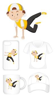Grafisch ontwerp op verschillende producten met gelukkige jongen