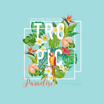 Grafisch ontwerp voor tropische vogels en bloemen