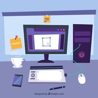 Grafisch ontwerp werkruimte achtergrond in de hand getrokken stijl