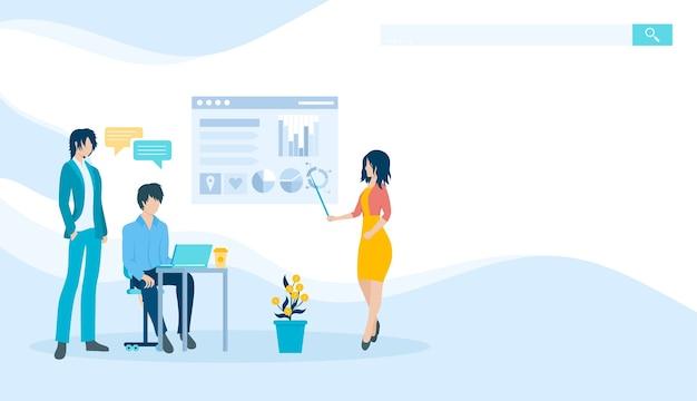 Grafisch ontwerpbeeld. het concept van het leren van analytics. leraar leert studenten een webbanner.