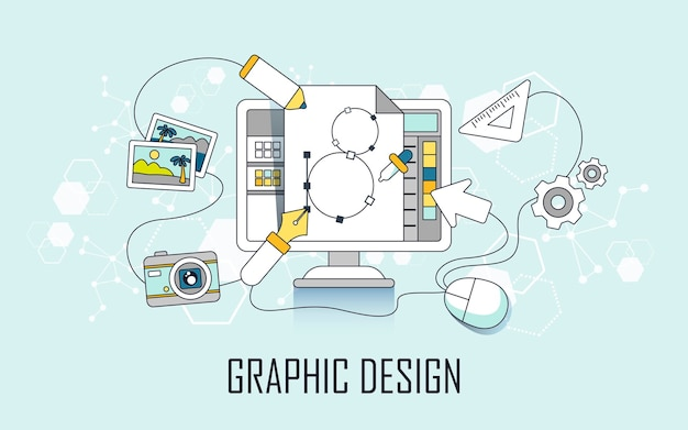 Grafisch ontwerpconcept: computer- en ontwerpelementen in lijnstijl