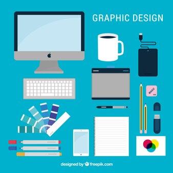 Grafisch ontwerpelementen collectie in vlakke stijl