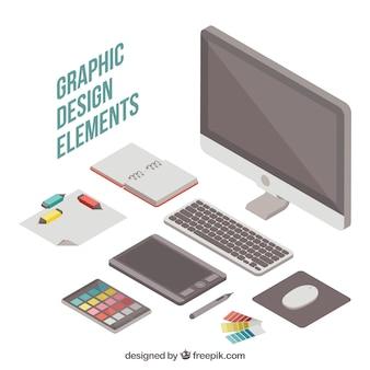 Grafisch ontwerpelementeninzameling in isometrische stijl