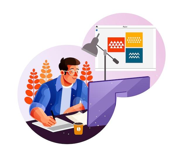 Grafisch ontwerper die zijn kunstwerk maakt met behulp van de computer