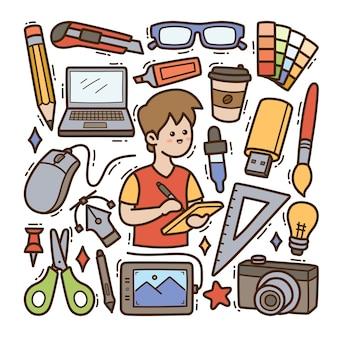 Grafisch ontwerper doodle illustratie