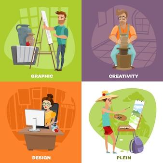 Grafisch ontwerper kunstenaar 4 pictogrammenvierkant