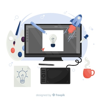 Grafisch ontwerper werkplek in platte ontwerp