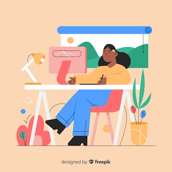 Grafisch ontwerper werkplek