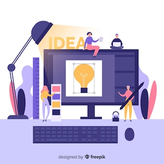 Grafisch ontwerpteam dat idee ontwikkelt