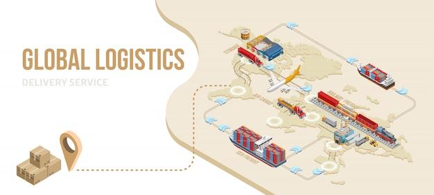 Grafisch schema van wereldwijde logistieke service