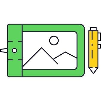Grafisch tabletpictogram. platte vector ontwerper computer ontwerp illustratie. digitale kunstenaar illustrator pen potlood en beeldscherm met tekening