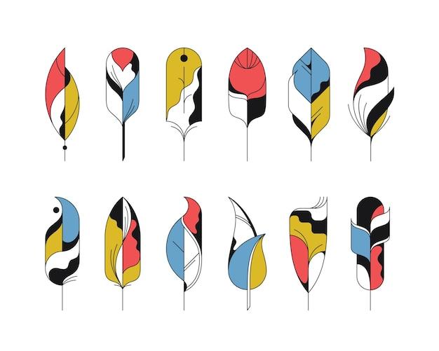 Grafische abstracte geïsoleerde geplaatste verenpictogrammen.