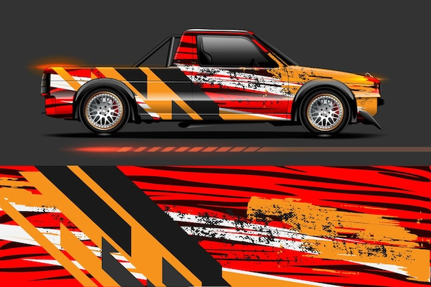 Grafische abstracte streepontwerpen voor branding en drift-livrei-auto