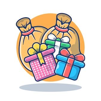 Grafische afbeelding van santa bag en gift box
