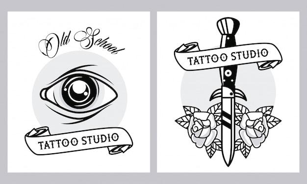 Grafische afbeeldingen van menselijke en dolk-tatoeages