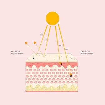 Grafische animatie uv-bescherming voor de huid ultraviolet schild reflect