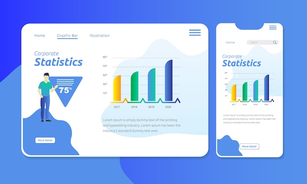 Grafische balk voor bedrijfsstatistieken in webkoptekst van mobiel display
