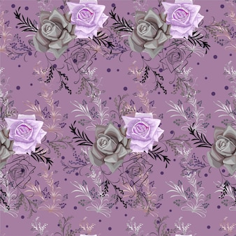 Grafische bloem lijntekeningen en kleine paarse bloemen naadloze patroon