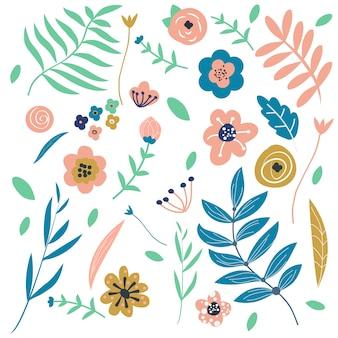 Grafische bloemen en bladeren. floral designelementen