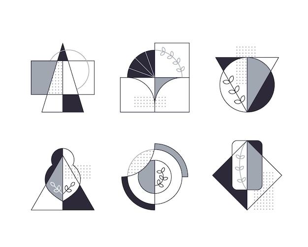 Grafische composities met lijnboompictogrammen.