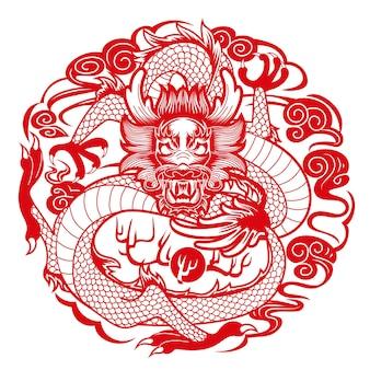 Grafische draak in chinese stijl, gecomponeerd in ronde