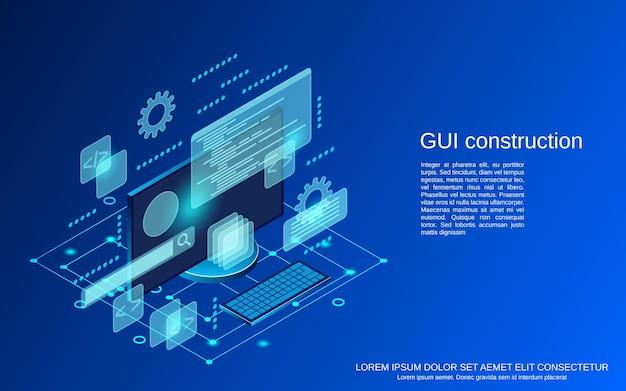 Grafische gebruikersinterface constructie plat isometrisch vector concept