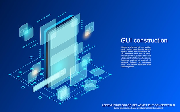 Grafische gebruikersinterface constructie platte isometrische vector concept illustratie
