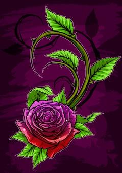 Grafische gedetailleerde cartoon violet roos met stengel