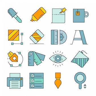 Grafische gereedschap en apparatuur pictogrammen