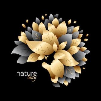 Grafische gouden natuurlijke dameillustratie