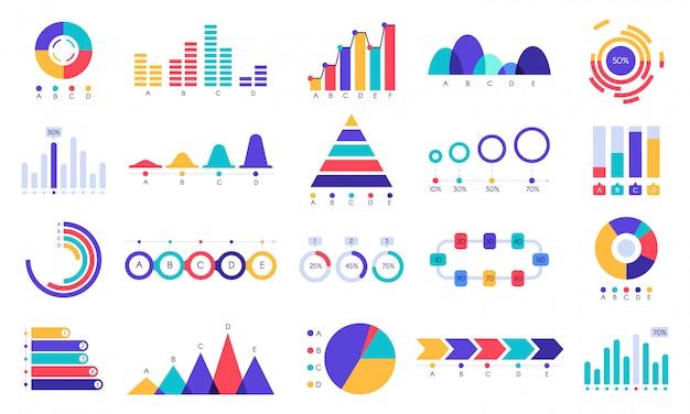 Grafische grafieken iconen. financier statistiekgrafiek, geldopbrengst en winstgroeigrafiek. zakelijke presentatie grafieken platte set