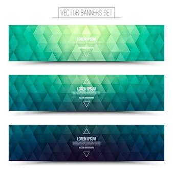 Grafische groen gekleurde panoramische banners set