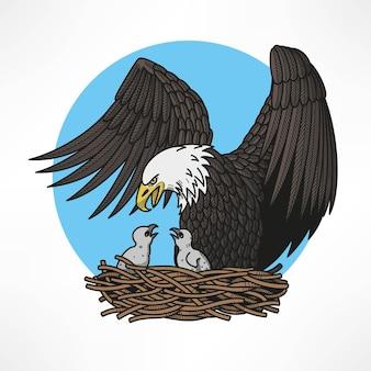 Grafische illustratie van zeearend met kuikens in het nest