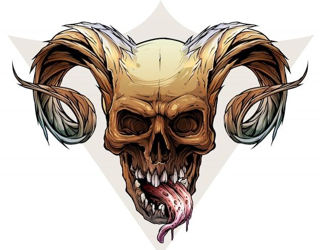 Grafische kleurrijke menselijke schedel met deamonhoorns