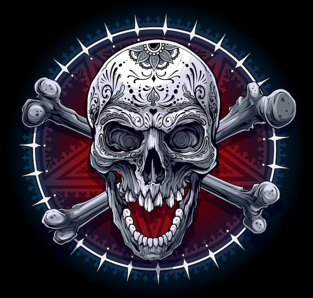 Grafische menselijke schedel met pentagram ster