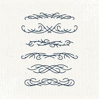 Grafische monoline decoratieve ontwerpelementen, set van geïsoleerde sier- en geometrische headers, grafische verdelers, regels.