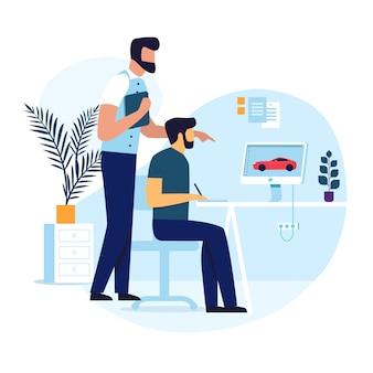 Grafische ontwerper job flat vectorillustratie