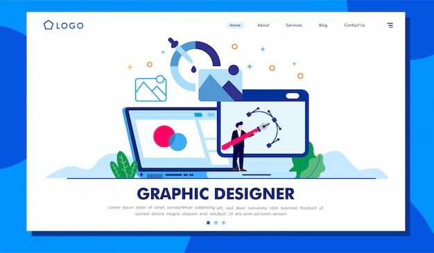 Grafische ontwerper landing page website illustration