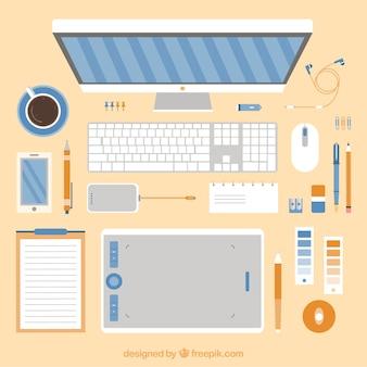 Grafische ontwerper's werkruimte