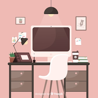 Grafische ontwerper werkplek illustratie