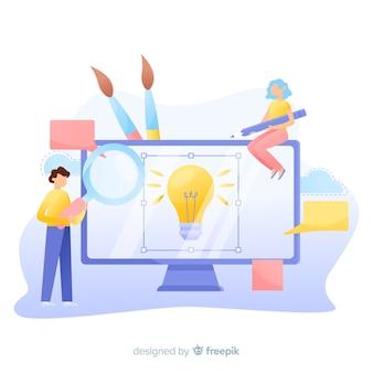 Grafische ontwerpersachtergrond die aan een idee samenwerken