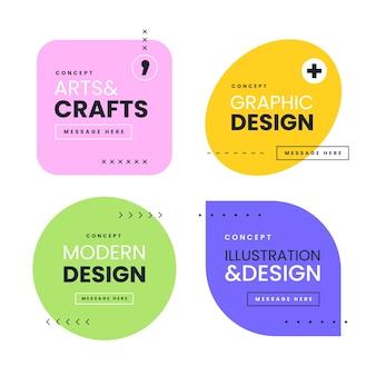 Grafische ontwerpetiketten in geometrische stijl
