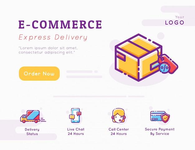 Grafische sjabloon voor e-commerce en bezorgservice