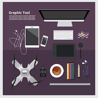 Grafische tool werkruimte geïsoleerde vectorillustratie