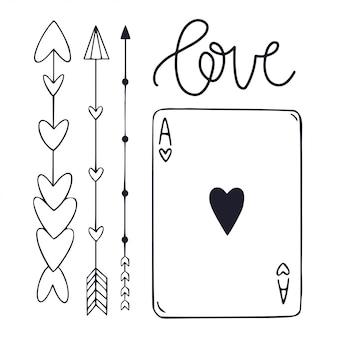 Grafische vectorsymbolen met pijlen en speelkaart