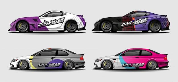 Grafische voertuigkit. abstracte gebogen achtergrond voor het ontwerp van raceauto's, bestelwagens en vrachtwagens