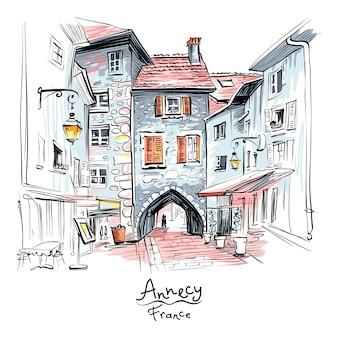 Grafpoort in de oude binnenstad van annecy, frankrijk