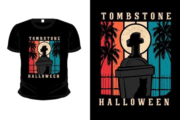 Grafsteen halloween merchandise silhouet mockup t-shirt ontwerp