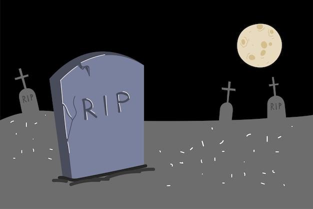 Grafsteen tekenen in maanlicht begraafplaats nacht kerkhof illustratie grijs monument op graf van rip