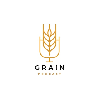 Grain podcast logo pictogram voor voedsel blog video vlog kanaal